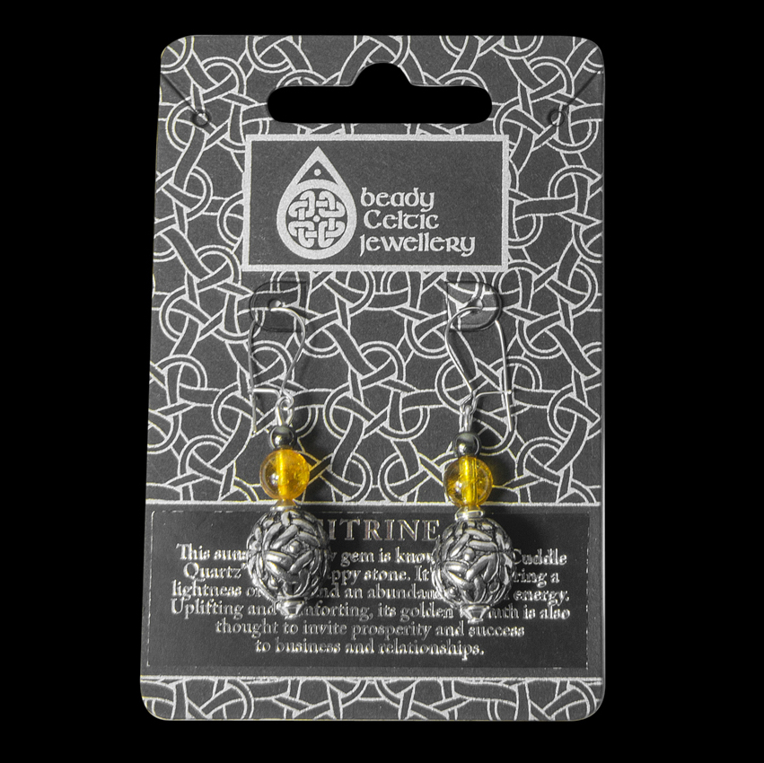 Beady Earrings with a 12mm Celtic Sphere - Black Dragon Crafts